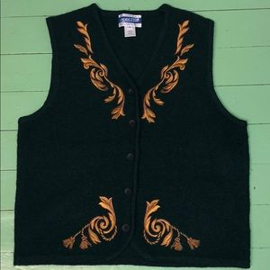 Pendleton green virgin wool appliquéd vest
